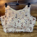 Beige Fur Sequins Sleeveless Party Blouse With Price