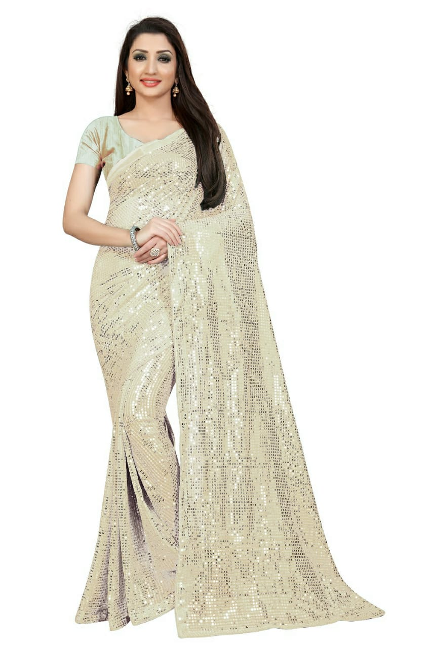 White Georgette Sequins Online Shopping For Ladies Sarees