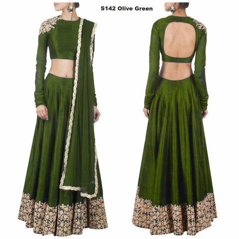Olive Green Lehenga Choli Online Shopping India ,Indian Dresses - 1