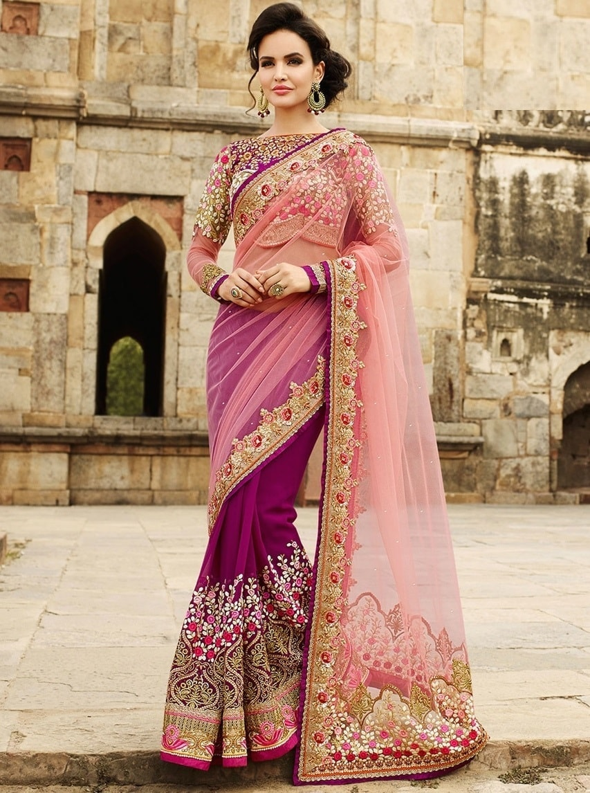 Pink Designer Georgette Bollywood Sarees Online Fashion ,Indian Dresses - 1