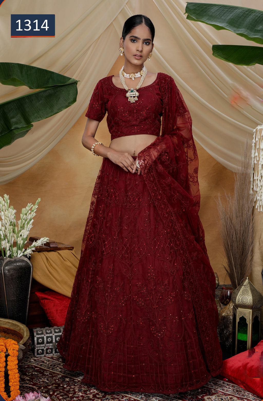 Maroon Embroidered Net Lehengas Choli @Indiandresses.co