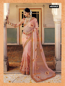 Beautiful Peach Embroidered Organza Saree Indian Party Wear Online Shop