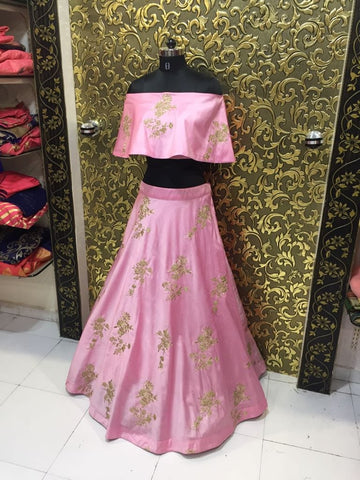 Pink Taffeta Silk Embroidered New Fashion Indian Lehnga Choli