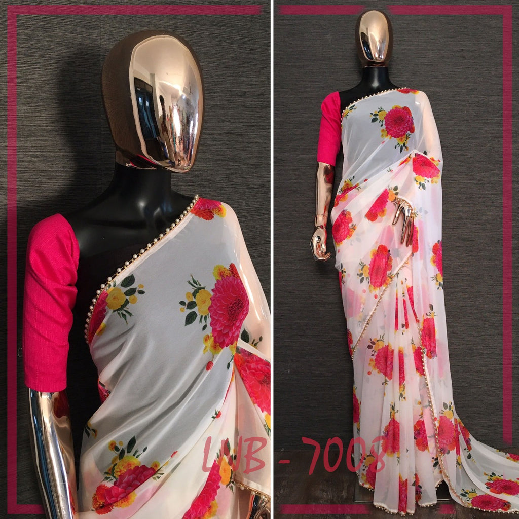 Cream With Pink Flower Print Georgette Saree Shopping Online