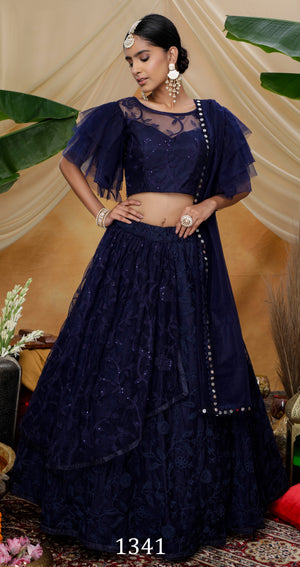 Navy Blue Embroidered Net Party Wear Ladies Lehenga Choli