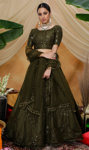Olive Green Embroidered Net Party Wear New Lehenga Choli Designs