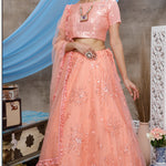 Peach Embroidered Net Lengha Choli Fashion Dress Online
