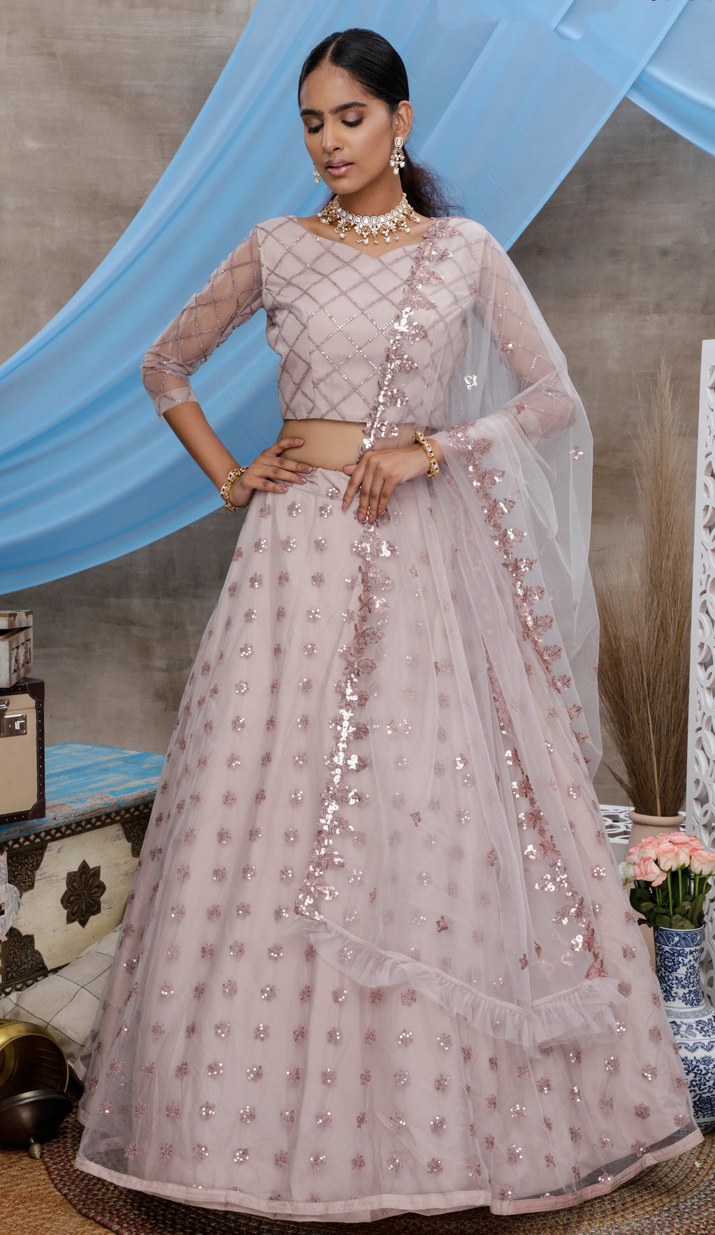 Light Fawn Embroidered Net Ghagra Dress Online Shopping