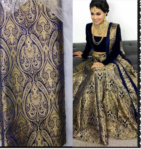 Blue Brocade Indian Designer Ghagra Choli ,Indian Dresses - 1
