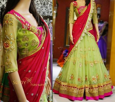 Parrot Green And Rani Pink Net Georgette Bollywood Lengha Choli ,Indian Dresses - 1