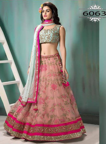Pink And Firozi Gajri Print Indian Lehenga Online Shopping ,Indian Dresses - 1
