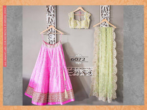 Pink and Pistachio Green Lengha Choli Fashion Dress ,Indian Dresses - 1