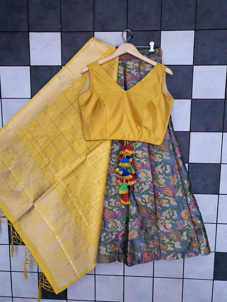 Grey Banarasi Lehenga  With Sleeveless Blouse and Dupatta