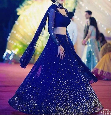 Blue Sequins Work Bollywood Wedding Lehenga Choli Replica