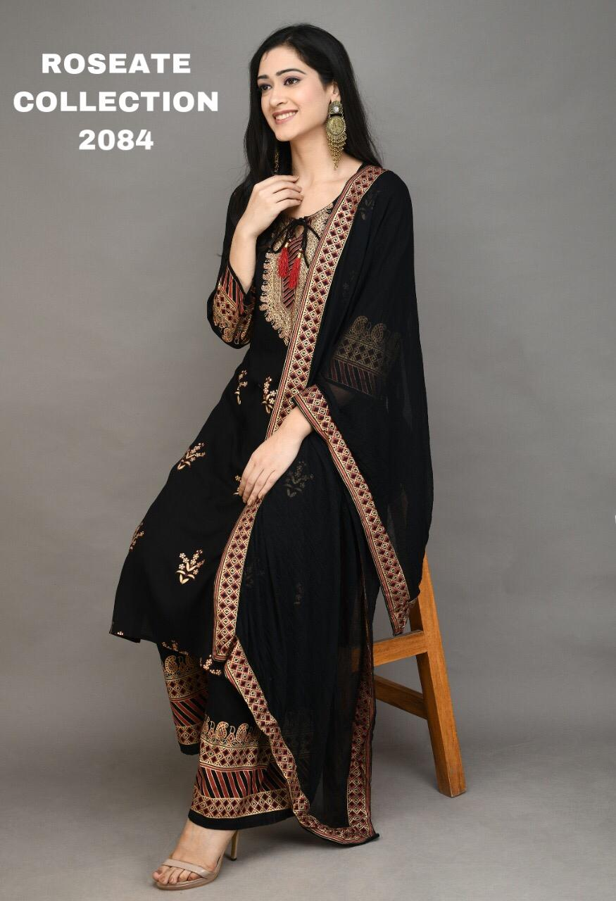 Black kurti and Sharara with print and Tassles  Chiffon Dupatta
