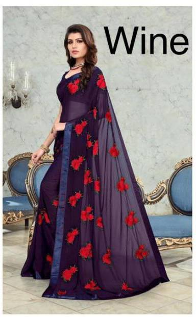 Wine Color Georgette Flower Embroidered Latest Womens Sarees Collection