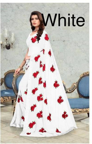 White Georgette Flower Embroidery Fashion Saree Online