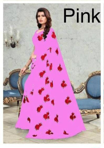Pink Georgette Flower Embroidered Latest Fashion Sarees Online