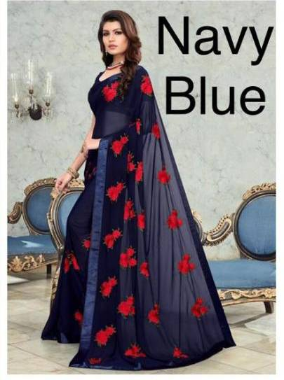 Navy Blue Georgette Embroidered Online Saree Shopping In Low Price