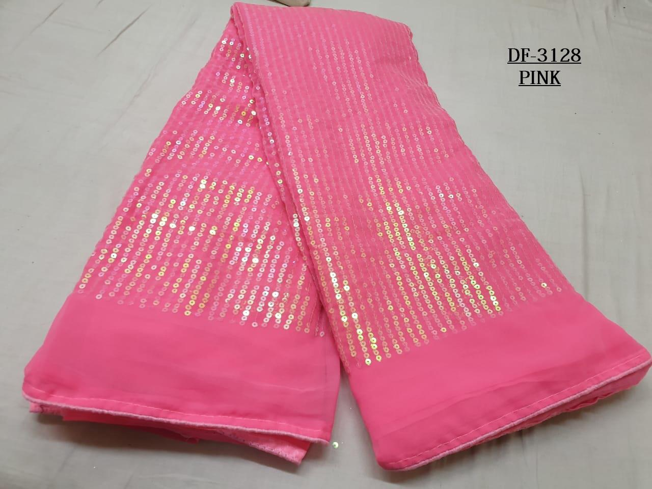 Pink Color Sequins Saree in Georgette with Plain Silk Blouse