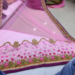 Pink Designer Georgette Bollywood Sarees Online Fashion ,Indian Dresses - 5