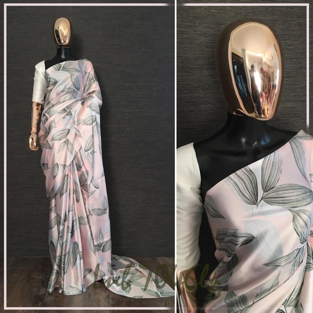 Pastel Pink Digital Printed Ladies Saree Online Shopping