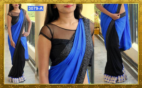 Blue And Black Half And Half Buy Bollywood Saree ,Indian Dresses - 1
