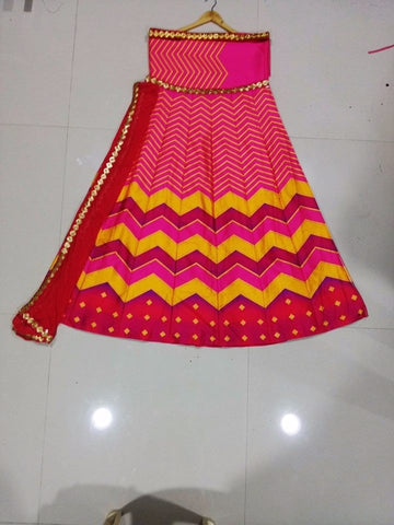 Pink Stripe Sequins Work Printed Bollywood Lenghas ,Indian Dresses - 2