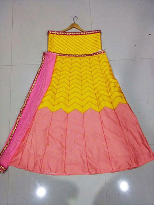 Twill Yellow Pink Bollywood Lehenga Choli Online Sale ,Indian Dresses - 2