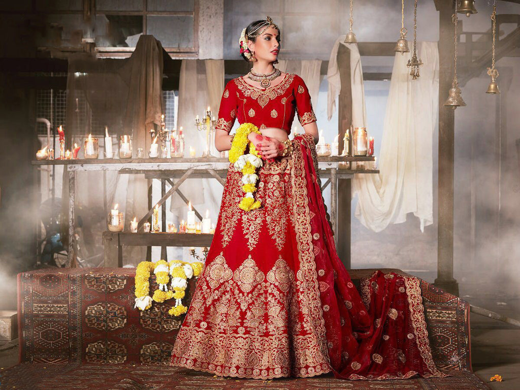 Red Velvet Beautiful Bridal Wear Lehenga Choli ,Indian Dresses - 1