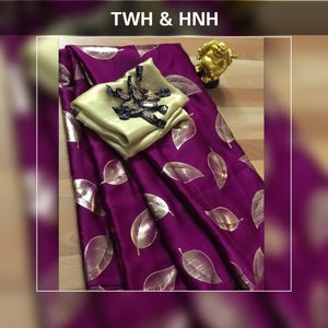 Purple Pure Satin Silk Leaf Printed Saree Blouse Online