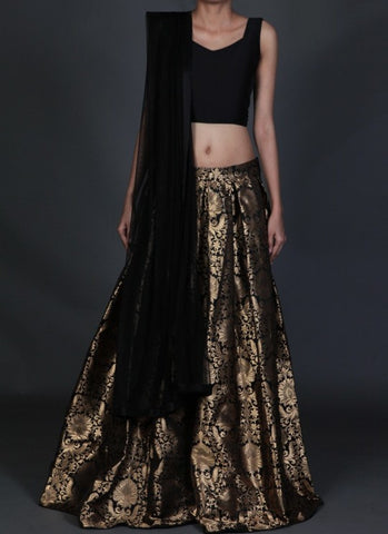 Black Gold Threads Brocade Indian Dress Lehenga Choli ,Indian Dresses