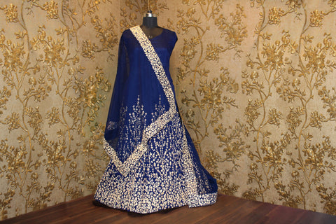 Navy Blue & Gold Embroidered Bollywood Anarkali ,Indian Dresses - 2