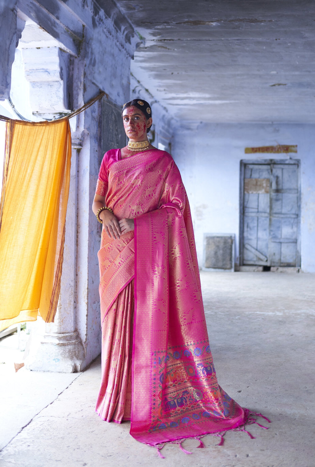Hot Pink Art Silk Fancy Sarees Online Shopping India