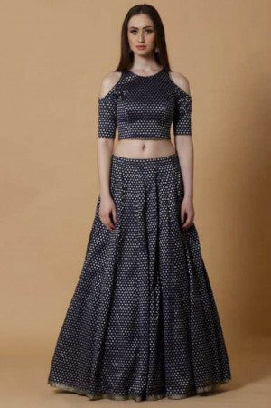 Buy Dark Blue Brocade Lehenga Choli Online Shopping