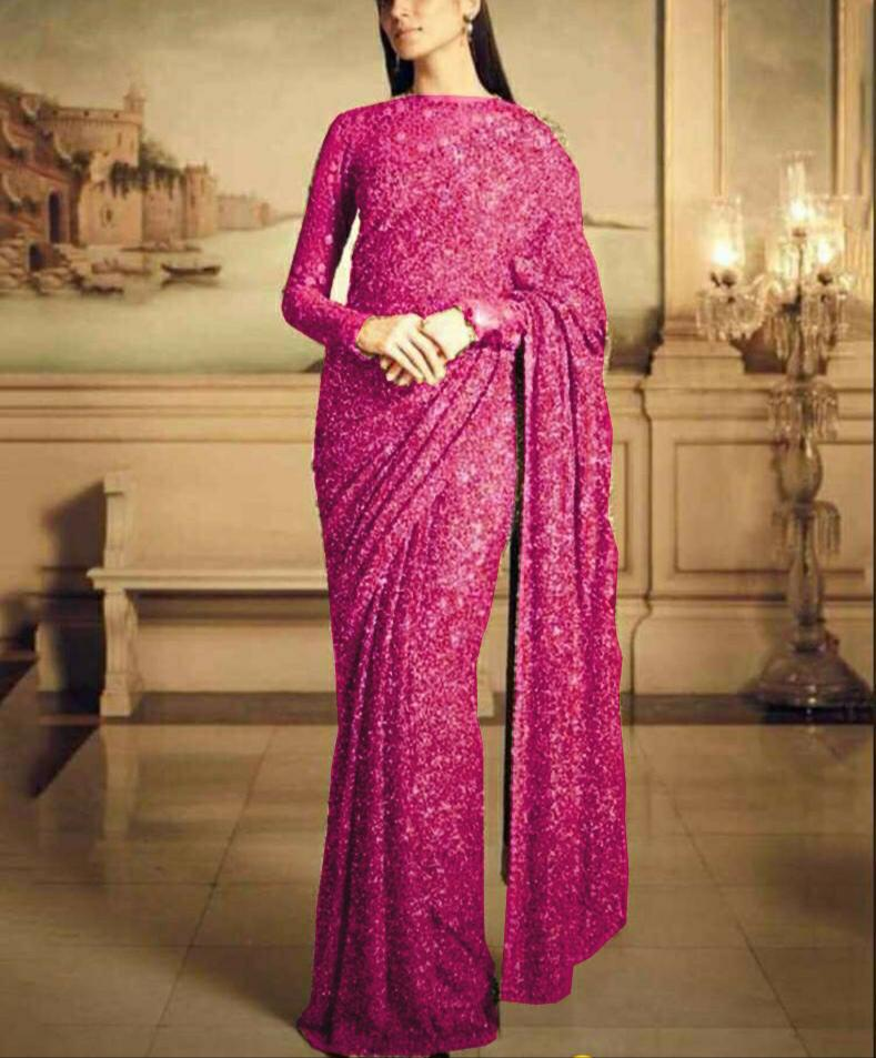 Pink Georgette Sequins Party Wear Saree Collections Online
