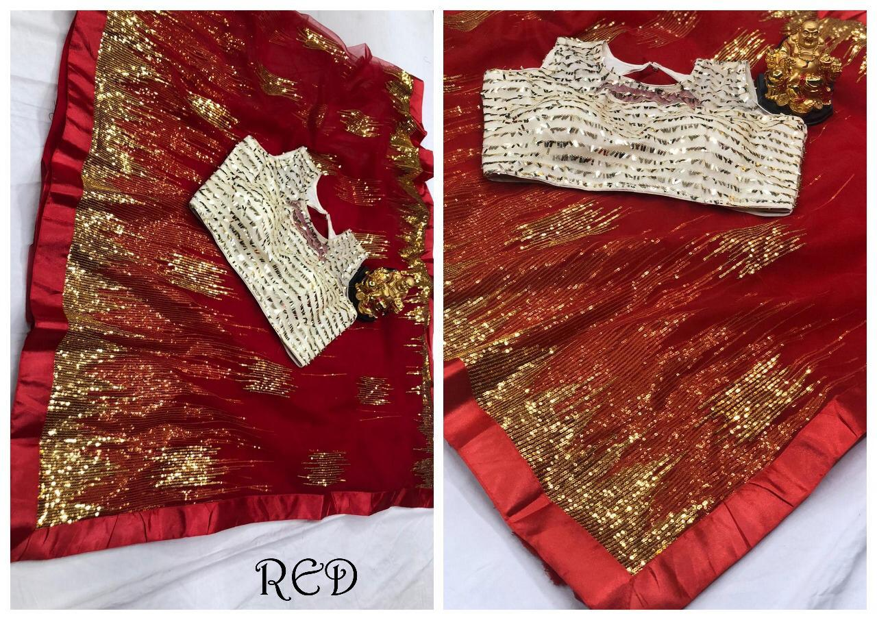 Red Net Sequins Work Online Shopping Net Sarees Low Price