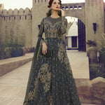Grey Net Embroidered Gown Style Latest Indian Salwar Suits