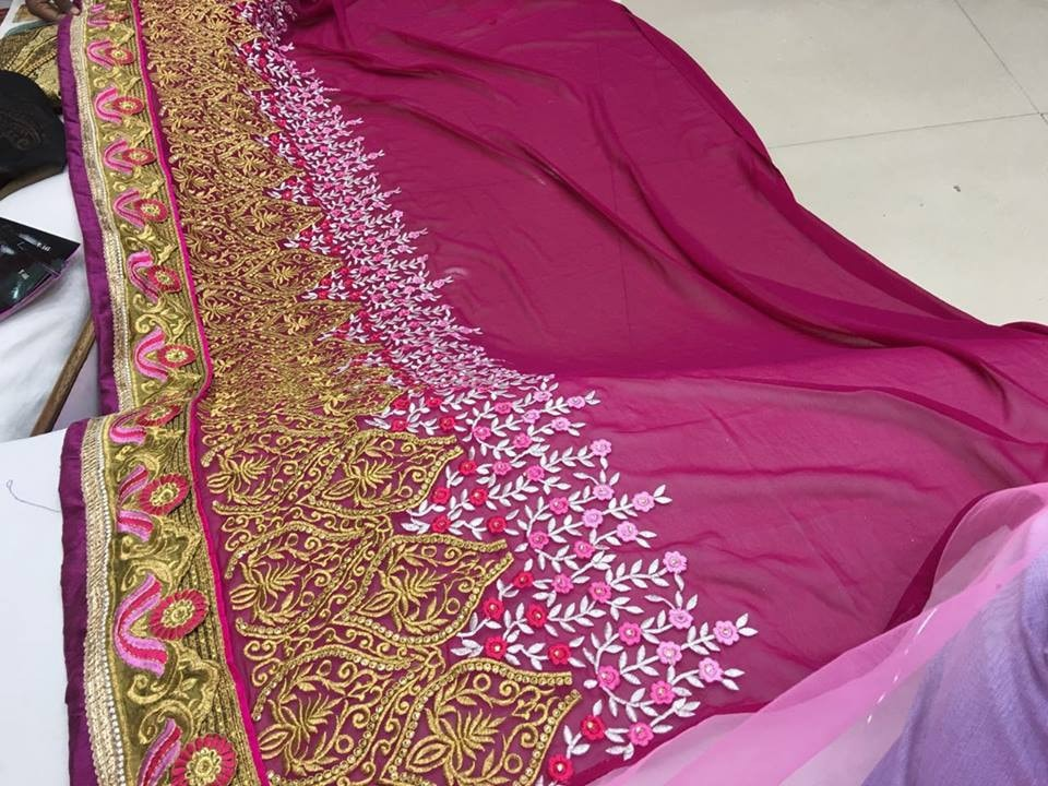 Pink Designer Georgette Bollywood Sarees Online Fashion ,Indian Dresses - 6