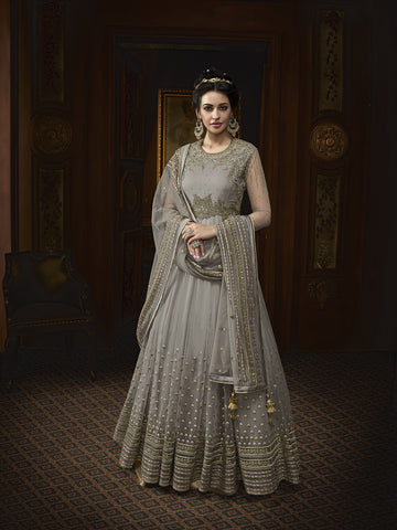Grey Net Latest Ethnic Gowns Style Beautiful Salwar Kameez Online