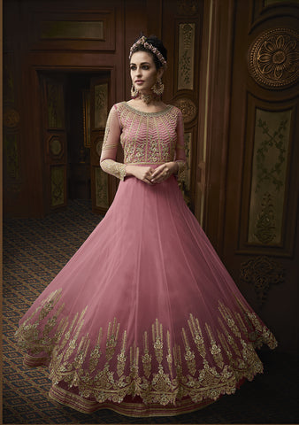 Pink Net Gowns Style Anarkali Wedding Wear Indian Salwar Kameez