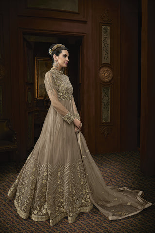Tan Beige Net Anarkali Salwar Kameez Wedding Wear Online