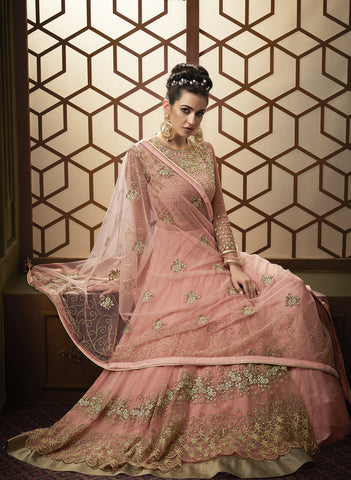 Peach Net Gown Style Anarkali Indian Wedding Outfits Online