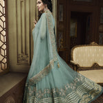 Pale Blue Net Wedding Wear Indian Anarkali Suit Salwar Kameez