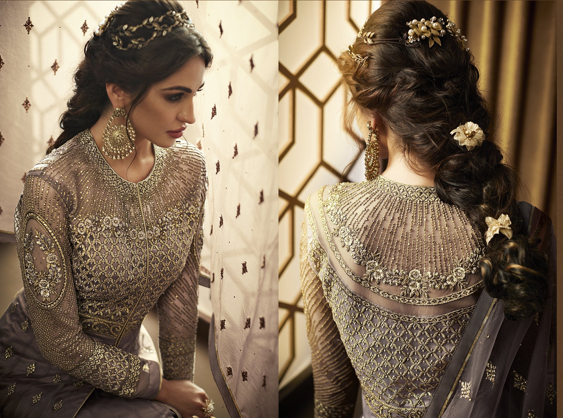 Dark Grey Net Latest Party Wear Latest Anarkali Suits Online Shopping