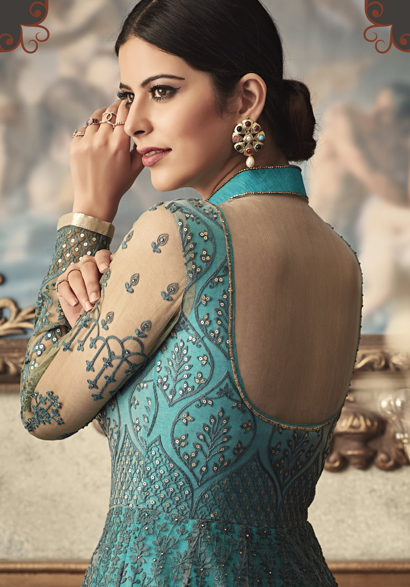 Teal Green Net Long Anarkali Latest Party Dresses Salwar Suits Online