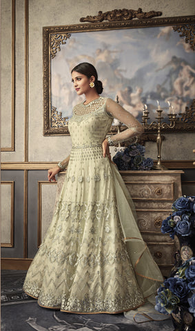 Cream Net Long Anarkali India Online Shopping Salwar Kameez