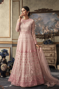 Baby Pink Net Gown Style Anarkali Indian Fashion Salwar Kameez