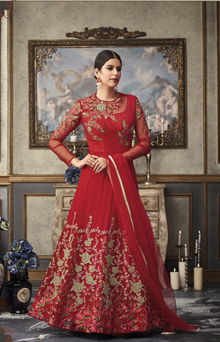 Red Net Gown Style Anarkali Indian Traditional Salwar Kameez