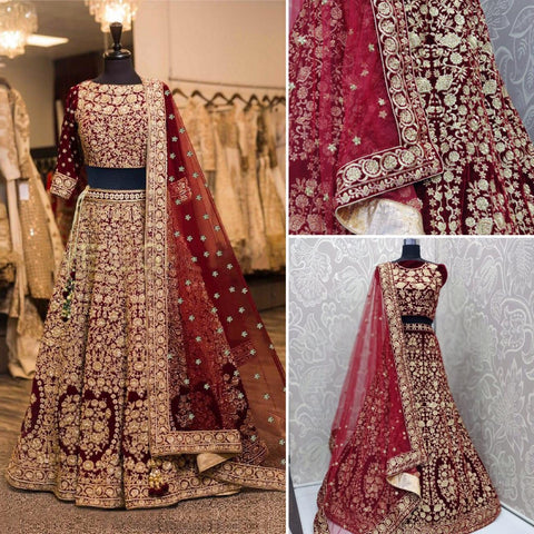 Maroon Embroidered Indian Wedding Lehenga Blouse India Online